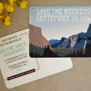 Yosemite Tunnel View Craftsman  Summer Mountain Landscape  Wedding Reception Thank You Note Bookmark