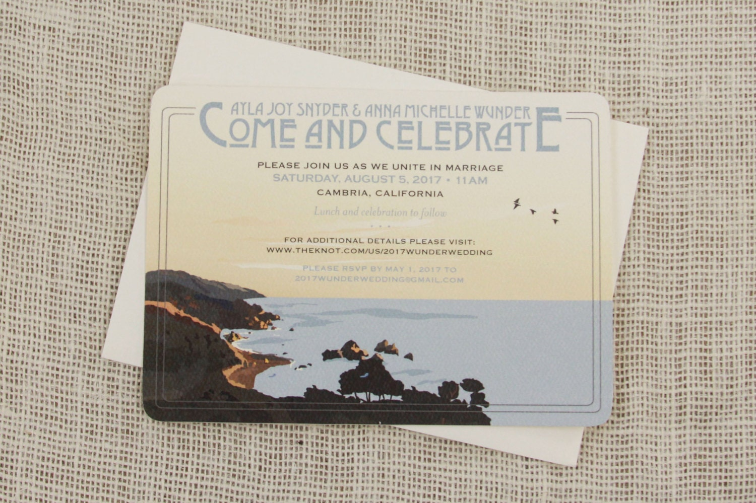 big sur california coast 5x7 wedding invitation with a7 etsy