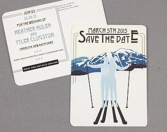 Jay Peak Resort with Skiers Save the Date Postcards - JA1