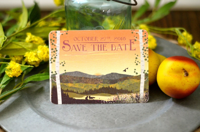 Fall Appalachian Mountains with Birch Trees at Sunset with Fox  Rustic Mountain Wedding Save the Date Postcards