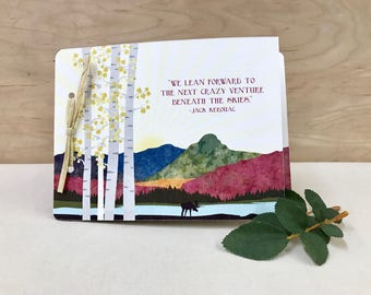 Fall Maine Mountains 2 Page Livret Wedding Invitation Booklet // Autumn Colors Sebago Lake // Birch Trees with Moose - BC1