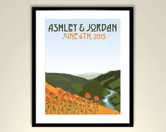 California Hills with River and Poppies Vintage Wedding Poster 11x14 Poster/Personalize with Names and wedding date (frame not included)SM-1