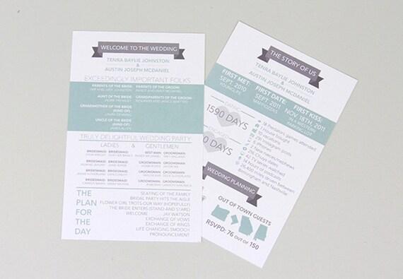 the story of us gray and aqua modern wedding day program etsy