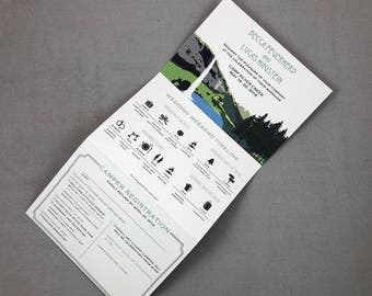 Oregon Waterfall Camp Wedding Trifold Invitation with Perforated RSVP Postcard // Camp Silver Creek Trifold Invite