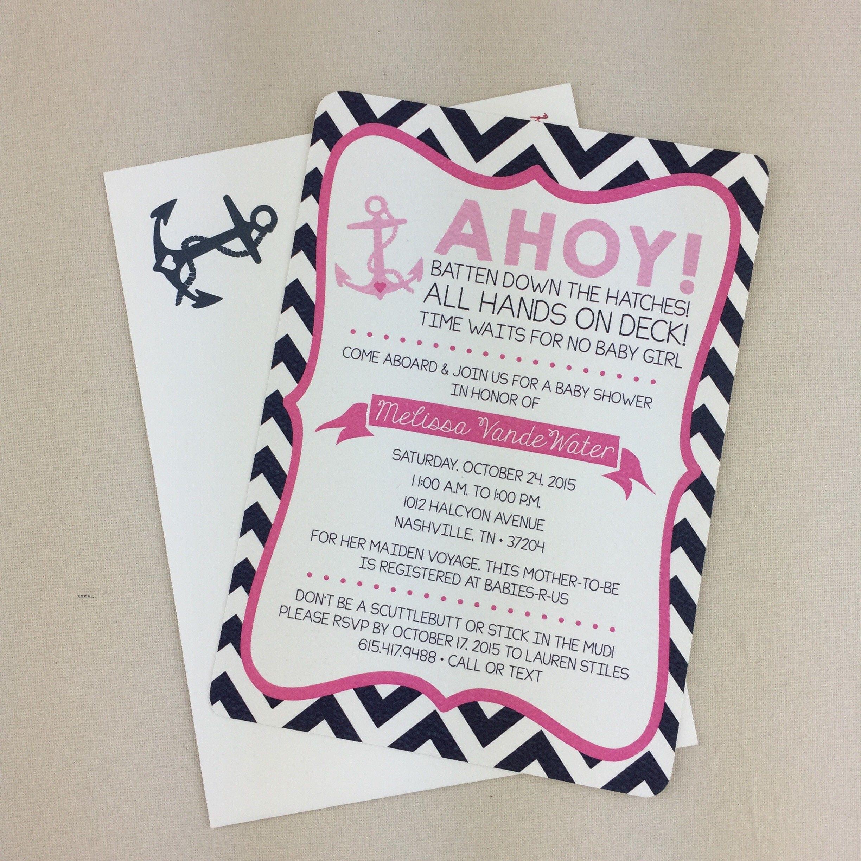 88043c551c5f7 Ahoy Pink Anchor Nautical Baby Shower Invitation // Nautical   Etsy