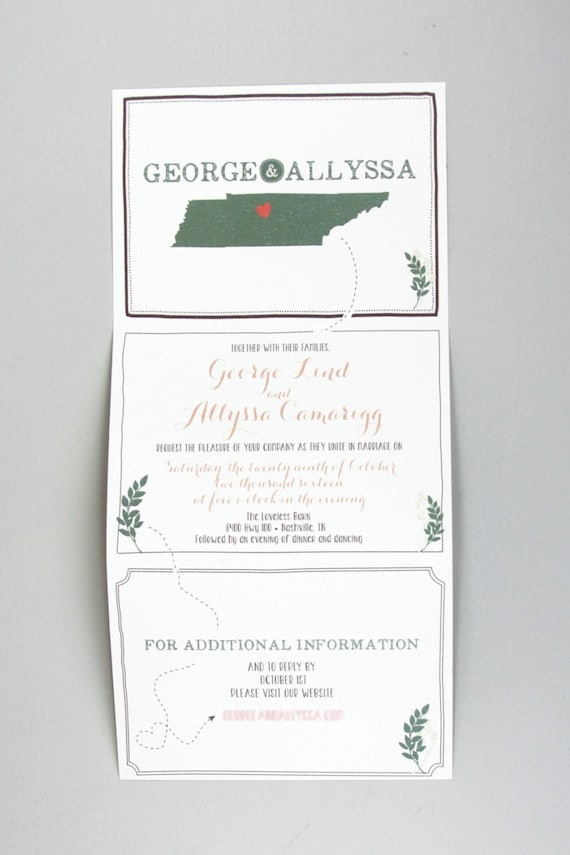 Rustic Green Leaves Trifold Wedding Invitation With Online Rsvp With Envelope Rustic Trifold Wedding Invitation