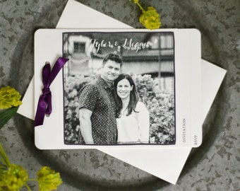 Deep Purple Script with Black and White Photo 3pg Livret Booklet Wedding Invitation with Perforated RSVP Postcard // BP1