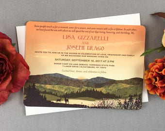 Fall Appalachian Mountains with Wildflowers at Sunset 5x7 Wedding Invitation