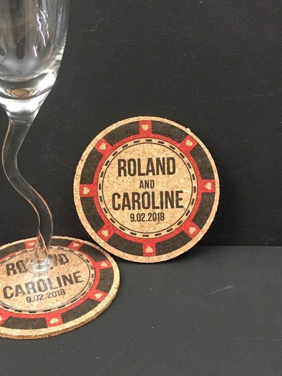 Poker Chip Favor Cork Coaster Wedding Favors Cork Etsy