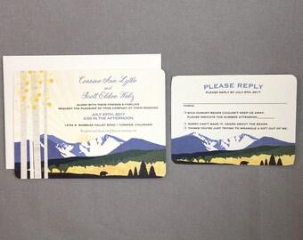 Longs Peak Cornflower Blue Mountain with Yellow Aspens 5x7 Wedding Invitation with RSVP Postcard // Colorado Wedding Invitation - TE1