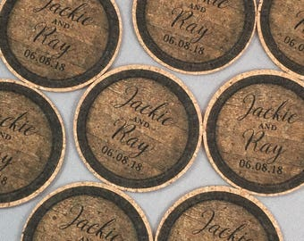 Vintage Wine Barrel Personalized Cork Coaster Wedding Favors for Guests