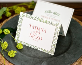 Romantic Modern Bohemian Greenery Trifold Wedding Invitation with Custom Map and Perforated RSVP Postcard - BP1