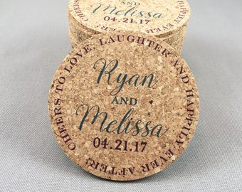 Love Laughter and Happily Ever After Personalized Cork Coaster Wedding Favors for Guests