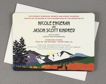 Fall Longs Peak with Custom Map 5x7 Wedding Invitation