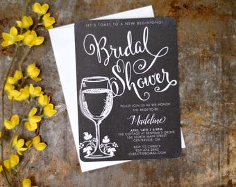 Vintage Winery Bridal Shower 5x7 Invitation with A7 Envelope // Wine themed invite