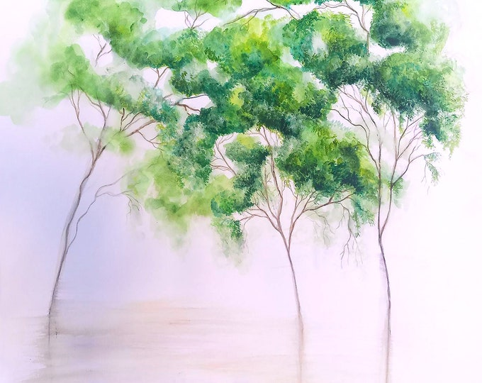 Green Trees- Watercolor painting