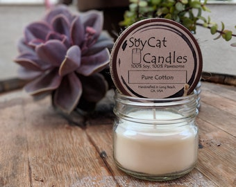 SoyCat Candles 4 oz Pure Cotton (Fresh linen scented/100% Soy Wax/Homemade/Rustic Style)