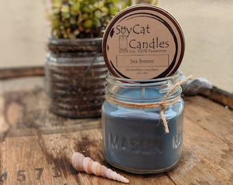 SoyCat Candles 8 oz Sea Breeze (Ocean Breeze, Apple and Violet scented/100% Soy Wax/Homemade/Rustic Style)
