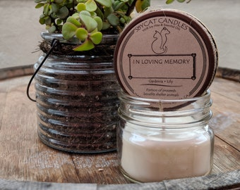SoyCat Candles 4 oz Pet Memorial Candle (Gardenia & Lily scented/100% Soy Wax/Homemade/Rustic Style)