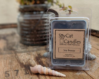 SoyCat Candles Wax Melt 2.5 oz Sea Breeze (Ocean Breeze, Apple, & Violet Scented/100% Soy Wax/Homemade/Rustic Style)