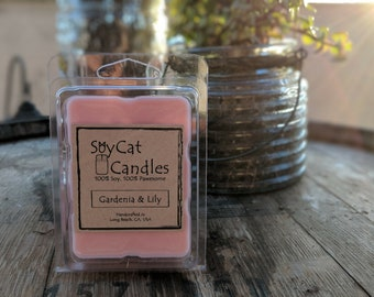SoyCat Candles Wax Melt 2.5 oz Gardenia and Lily (Gardenia & Lily Scented/100% Soy Wax/Homemade/Rustic Style)