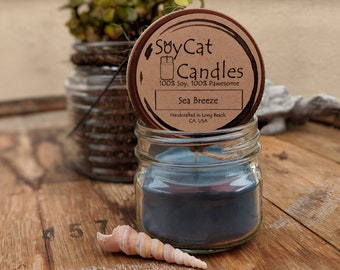SoyCat Candles 4 oz Sea Breeze (Ocean Breeze, Apple and Violet scented/100% Soy Wax/Homemade/Rustic Style)