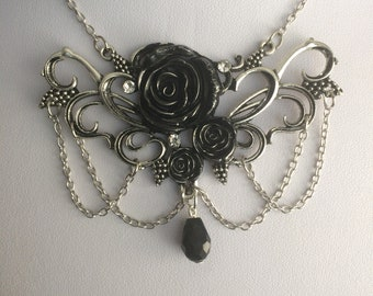 Gothic black rose Victorian necklace