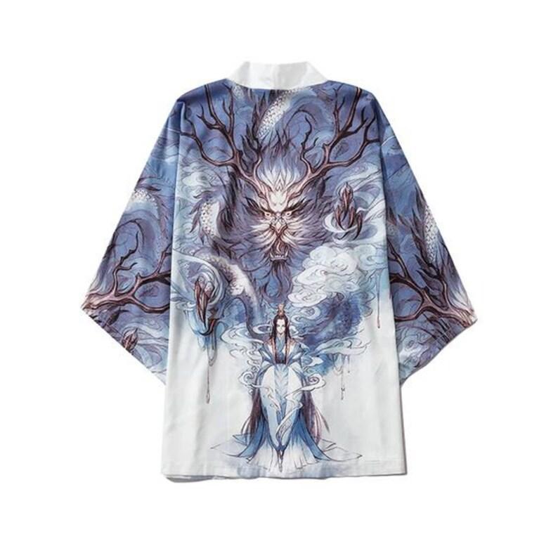 Unisex Dragon Snow Fox Mythical Creatures Printed All Over Soft Wrinkle Free Men Women Yukata Kimono Style Harajuku Streetwear White Robes