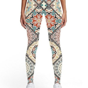 Galaxy Stars World Map Floral Music Note Fun Designs Patterns Sharp Color 3D Printed Compression Front Back Comfortable Leggings Pants