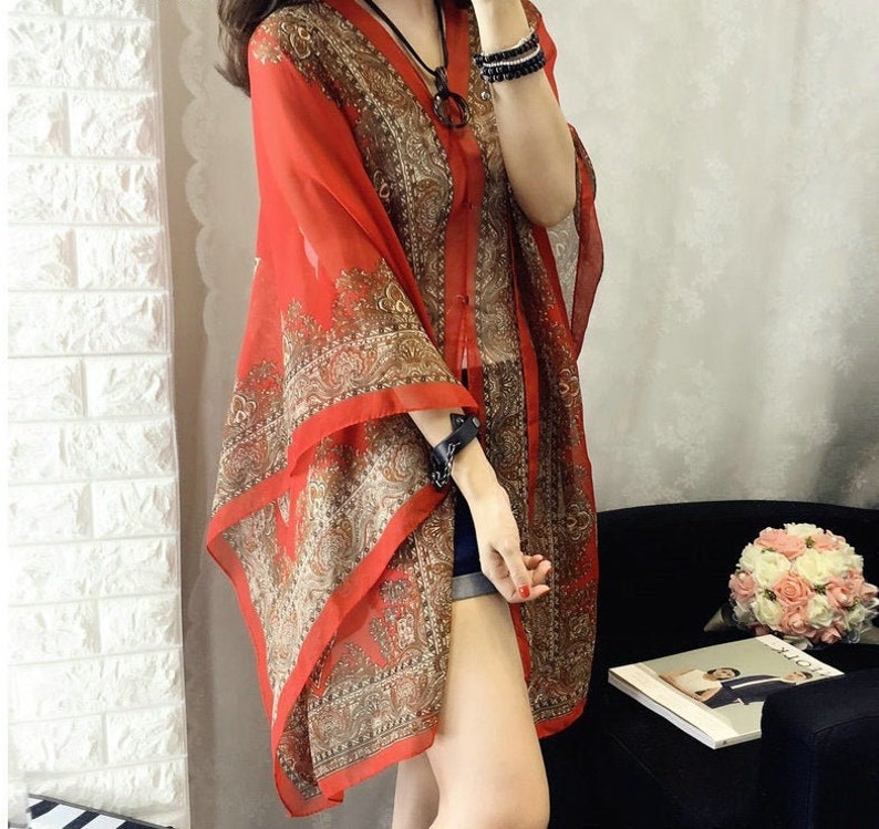 Tribal Print Cover Ups Batwing Sleeve Blouses Soft Wrinkle Free Light Semi Transparent Robes Cardigan