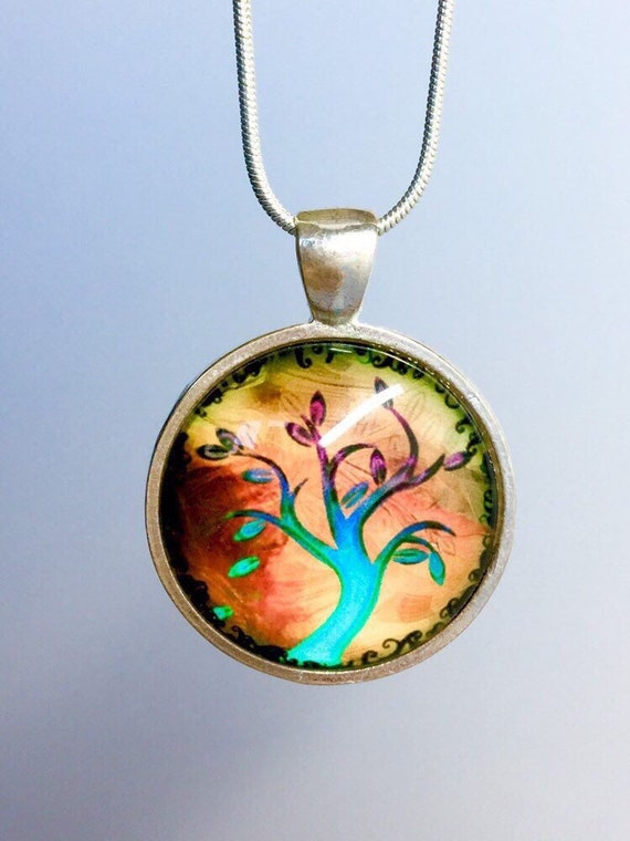 A couple under a tree photo Cabochon Glass Silver Tile Chain Pendant Necklace