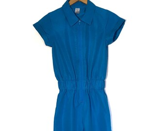SUMMER SALE - Vintage 80s Blue Zipper Jumpsuit with Short Sleeves and Collar - Size XS