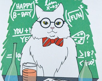 Chemistry Cat Meme Birthday Card
