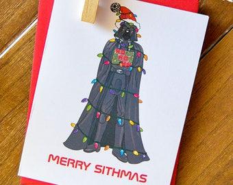 Merry Sithmas Christmas Card- Pop Culture Christmas, Christmas Card, Cute Holiday Card, Cute Pop Culture Card, Funny Christmas, Geeky, Nerdy