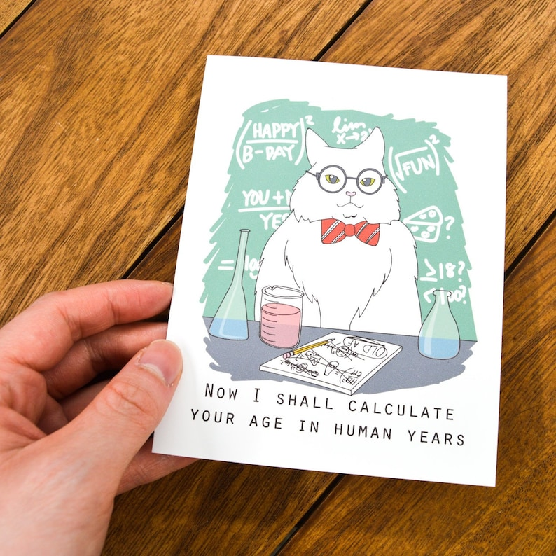 chemistry cat meme birthday card meme birthday card  etsy