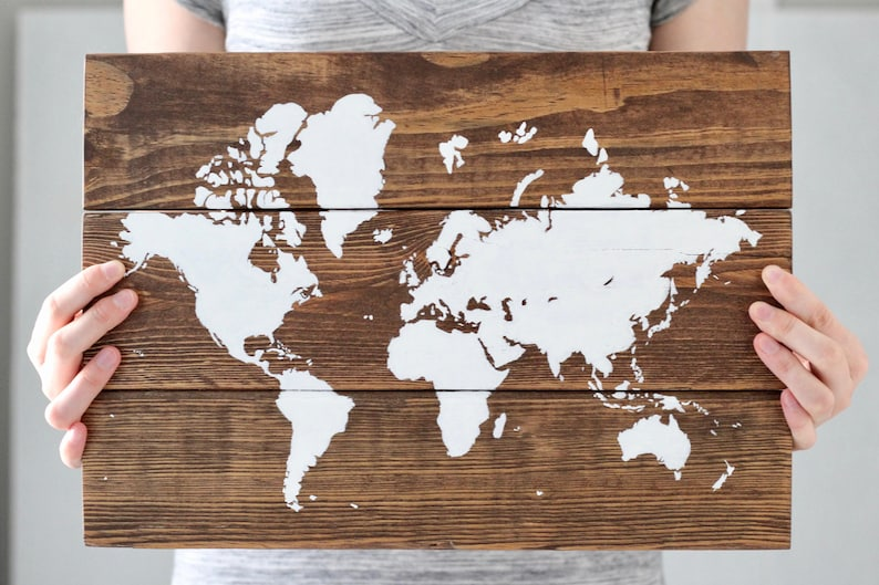 World Map Art World Map Wall Art Reclaimed Wood Wall Art | Etsy