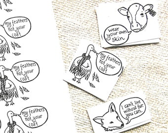 Vegan Sticker Pack [Clothing] (Anti down, fur, leather) Activism / Black and White / 60 Stickers