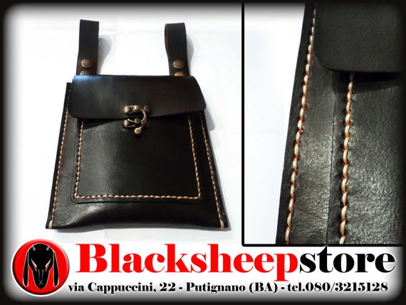 Scarsella in cuoio medievale, borsa marsupio, cintura, incisione Oroboros Made in Italy, cuciture a mano diverse colorazioni, bikers, larp