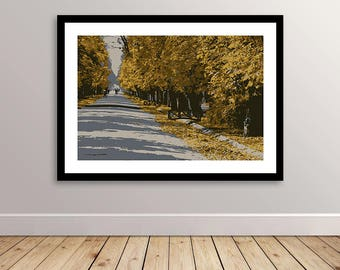 Autumn Sunset in Parc with Orange Leaves Falling- Minimalist Poster Art - Wall Art - Print Ready - Digital Download Item