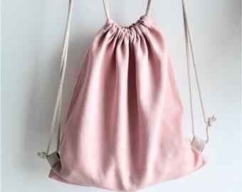 Linen backpack, Drawstring Backpack, summer bag, linen gym bag. Dusty Pink linen bag, childrens back pack, 100% linen , Backpack by Shuma