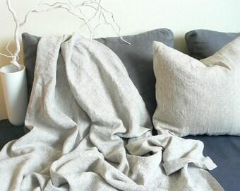 Linen  blanket, linen throw, natural flax linen  blanket, top sheet,  balnket, natural linen bedding, linen coverlet,