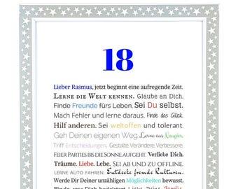 image personnalisée de 18e anniversaire - cadeau à l'âge de la majorité - cadeau - cadeau d'anniversaire pour un jeune homme