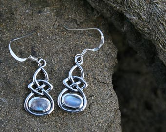 Celtic Knot Earrings With Sterling Silver and Moonstone