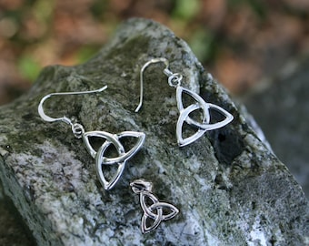 Celtic Trinity Knot Pendant and Earrings, Sterling Silver