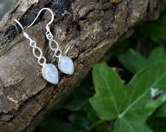 Twisted Moonstone Droplet Earrings With Sterling Silver