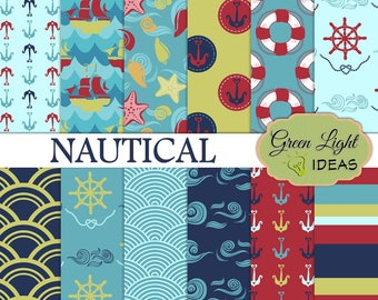 Nautical Digital Papers, Nautical Patterns, Nautical Backgrounds, Summer Digital Paper, Beach Digital Papers, Nautical Scrapbook Papers