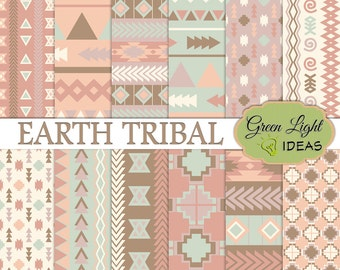 Earth Tribal Digital Papers, Tribal Arrows Scrapbook Paper, Aztec Navajo Tribal Background, Geometric Ethnic Printable Paper Commercial Use
