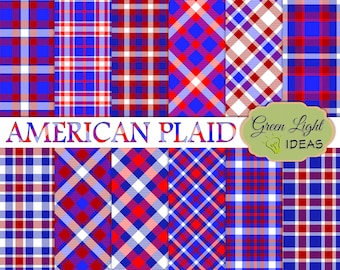 4th Of July Digital Papers, Independence Day Backgrounds, Red and Blue Plaid Papers, July 4th Backgrounds, Patriotic Digital Patterns