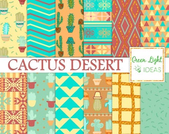 Cactus Digital Paper, Cacti Scrapbook Papers, Mexican Printable Papers, Southwest Digital Paper, Cacti Digital Paper, Desert Backgrounds