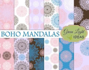 Boho Mandalas Digital Papers, Boho Papers, Mandala Digital Scrapbook Papers, Mandala Backgrounds, Boho Printable Papers Commercial Use